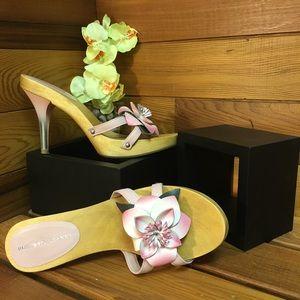 Roberto Vianni Leather and Wood Flower Heels